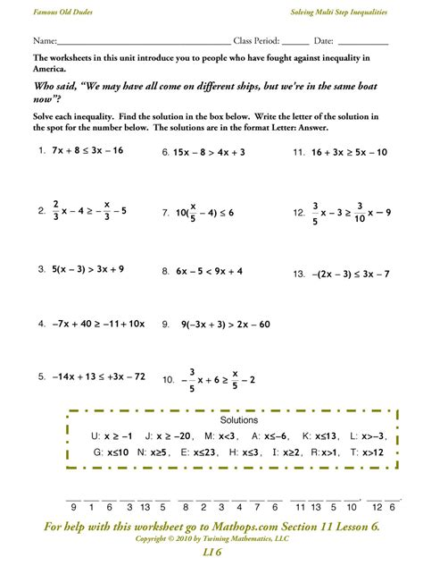 Solving Multi Step Inequalities Worksheet by Solving Two Step Inequalities Worksheet Lesupercoin