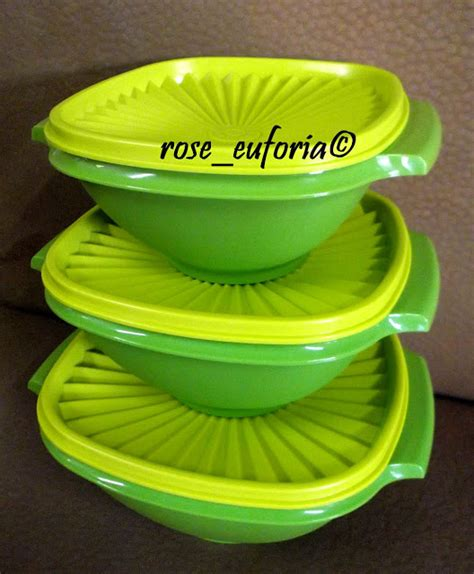 Tupperware Deco Canister 2pcs rose euforia my tupperware collection tupperware apple green deco canister emerald gift