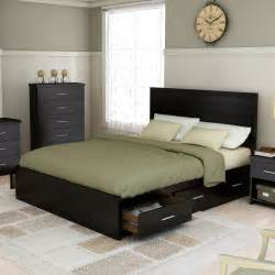 size black wooden low profile bed frame with side
