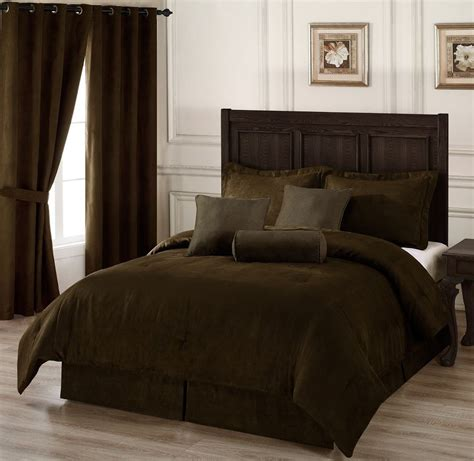 Brown King Bedroom Set by 7pc Chocolate Brown Microsuede Comforter Set King Size