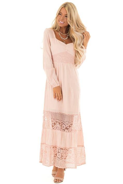 blush long sleeve maxi dress  lace contrast lime