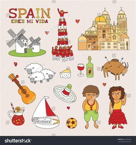 doodle espaã ol vector spain doodle travel tourism stock vector