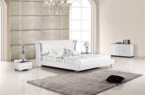 white leather bed with nightstands ae293 modern bedroom
