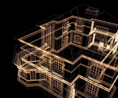 My House Floor Plan 3d modern architecture on a black background stock photo