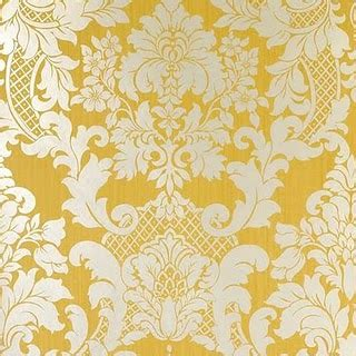 Design House Skyline Yellow Motif Wallpaper | damask and colors