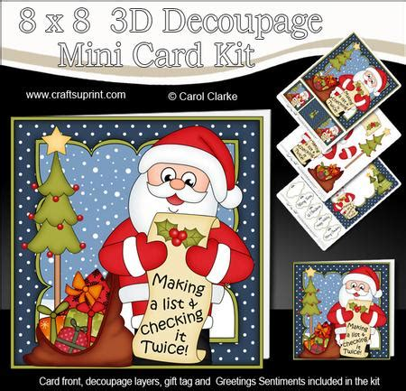 3d Decoupage Kits - 8x8 santa s list mini kit 3d decoupage cup582285