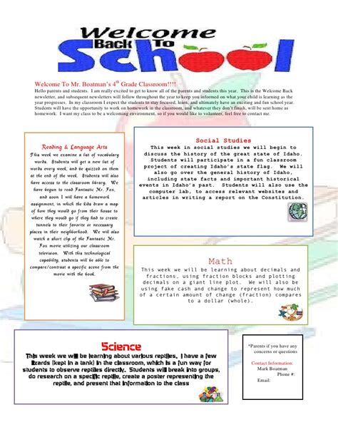 Parent Letter Template Back To School Back To School Newsletter