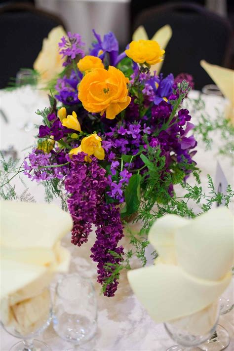 32 Best Images About For Kara Romantic Yellow And Purple Purple And Yellow Wedding Centerpieces