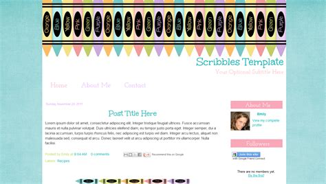 cute blogger template for teachers scribbles