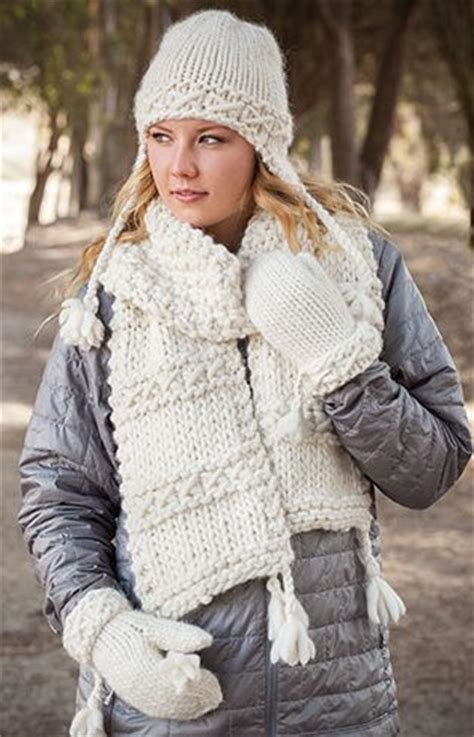 knitting pattern hat scarf mittens hat scarf and mitt sets knitting patterns in the loop