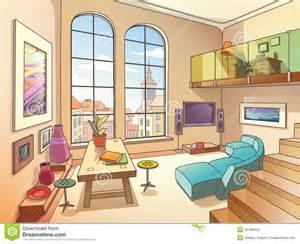 Stock illustration light living room mezzanine interior two storied