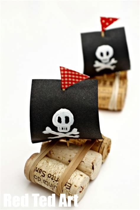 pirate crafts for easy pirate cork boats ted s