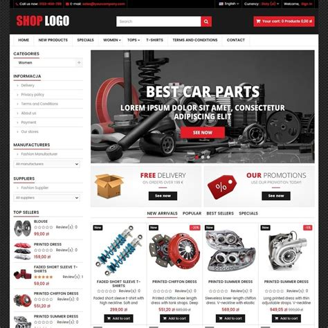 Auto Spare Parts Website Template Free P16at04 Car Spare Parts Prestashop Addons
