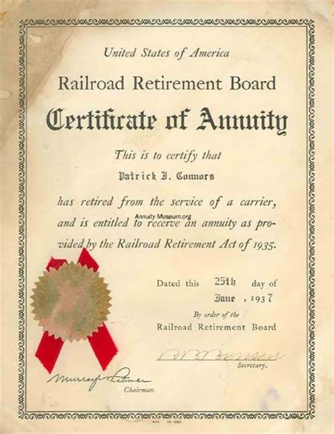 certification letter for retirement railroad retirement board certificate of annuity this is