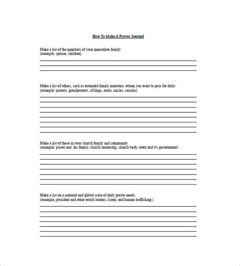 printable prayer list template prayer list template 8 free sle exle format