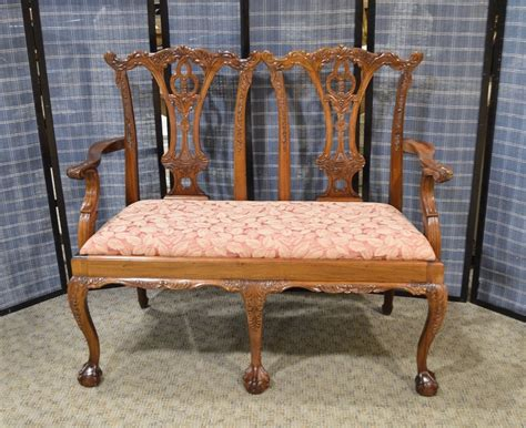 settee feet carved mahogany chippendale style 2 seat settee w ball
