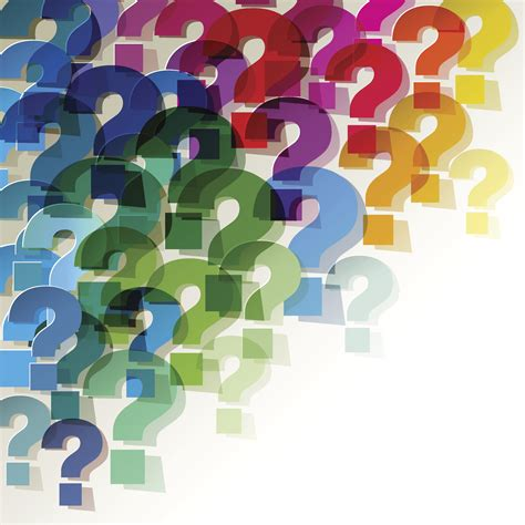 colorful paper transparent question marks  corner