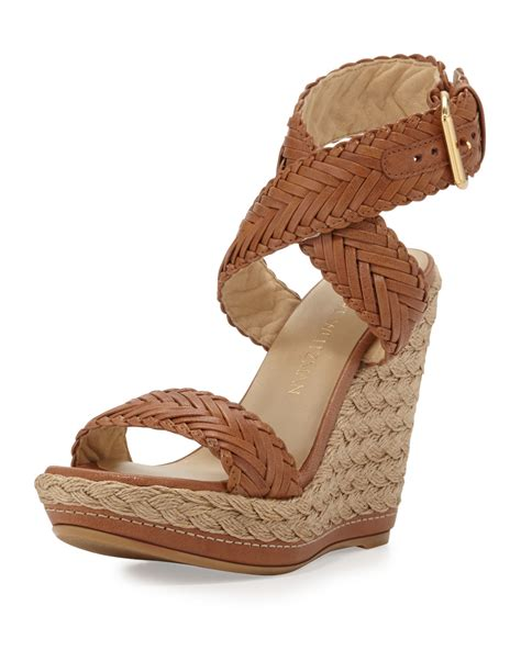 Wedges Denim Abu Telur Asin stuart weitzman elixir braided leather wedge sandal in brown save 22 lyst