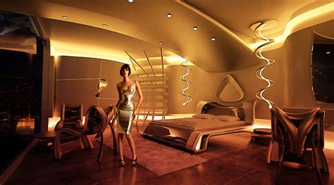 futuristic hotel room   behance