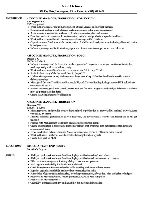 Associate Producer Resume Sle by Associate Production Manager Sle Resume Recreational Therapist Cover Letter