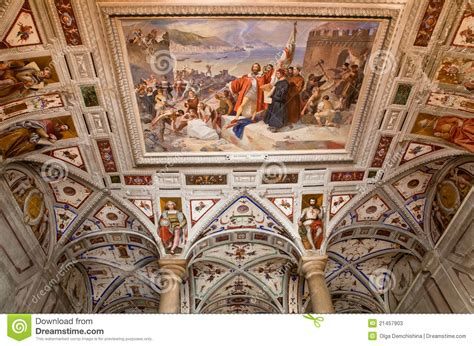 fresco italia italian renaissance fresco on the arched ceiling stock