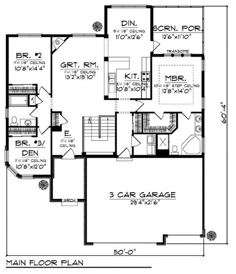Coastal Mediterranean Ranch House Plan 72948 Sq Ft House Plans 3 Car Garage On Side With 1800 2000