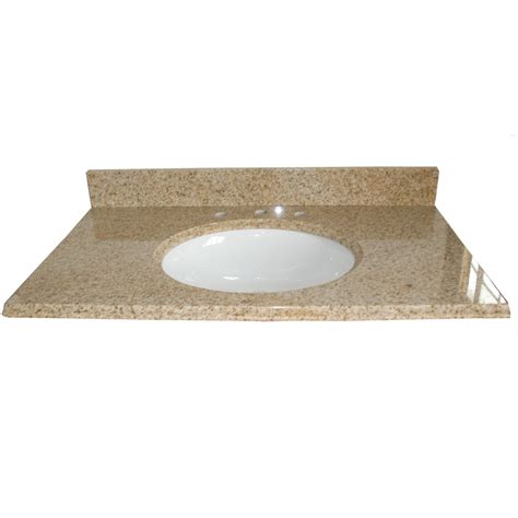 granite top for bathroom vanity shop allen roth desert gold granite undermount single