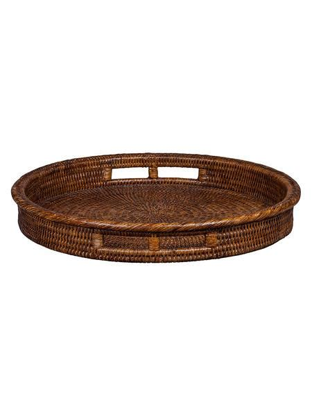 dark brown classic rattan  tray  handles