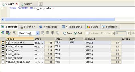 show table mysql melihat daftar kolom pada table mysql tutorial bahasa