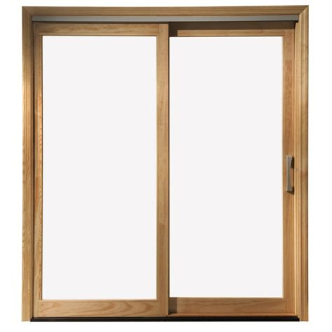 Wood Sliding Patio Door Shop Pella 71 25 In X 79 5 In Clear Glass Left White Wood Sliding Patio Door At Lowes
