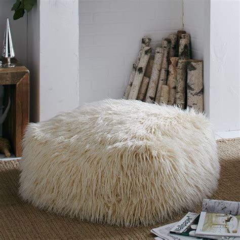 faux fur pouf ottoman 30 best images about mongolian lamb pillow cover on