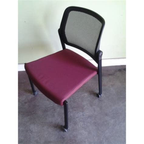 allsteel acuity mesh back stacking side chair w rolling