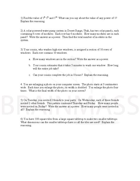 Exponential Word Problems Worksheet by Exponent Worksheet Doc Exponent Graphic