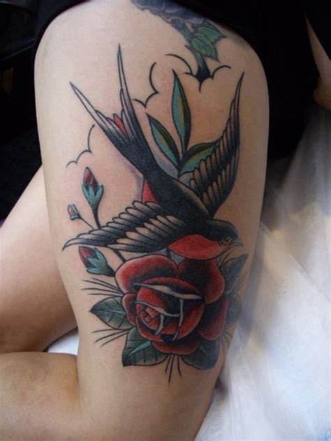 swallow and rose tattoo pretty tattoos for on thigh