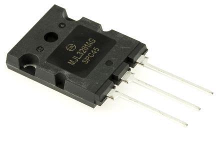 transistor npn hfe 200 mjl3281ag transistor mjl3281ag npn 200 v 15 a 30 mhz hfe 12 to 3bpl 3 pin on semiconductor