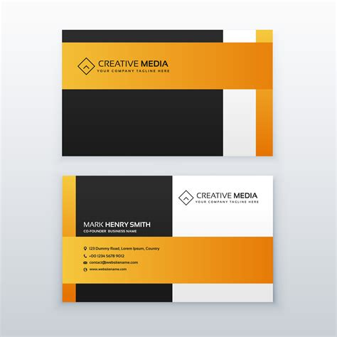 Https Www Vecteezy Free Vector Business Card Templates by Professional Yellow And Black Business Card Design