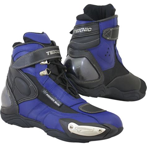blue motorbike boots teknic hurricane boots alloy slider clearance