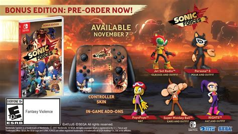 Nintendo Switch Sonic Forces Bonus Edition sonic forces launches november 7 in the west bonus