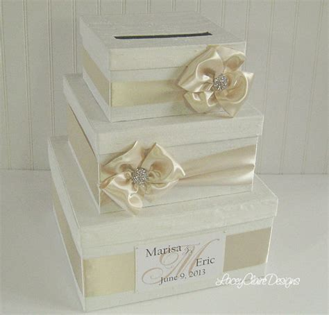 Personalized Wedding Gift Card Box - wedding gift card money box holder custom by laceyclairedesigns