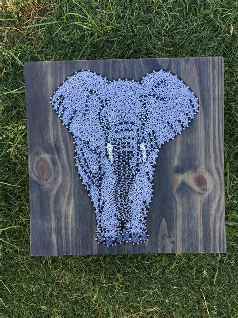 String Elephant - made to order elephant string board by kailsstringart