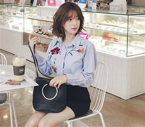 Shjt217080198543 Baju Biru Garis Baju Import jual baju atasan kerja kemeja biru garis bordir blouse