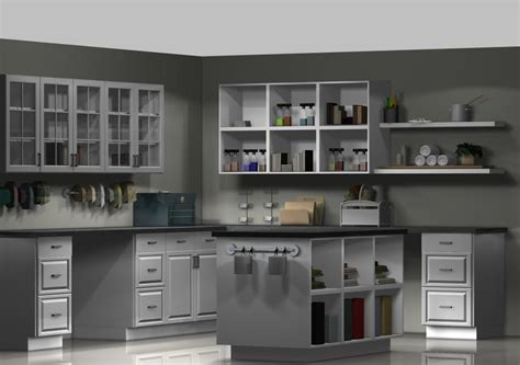 Craft Room Layout Designs by An Ikea Craft Room With Kitchen Cabinets