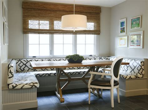 built in banquette dining room