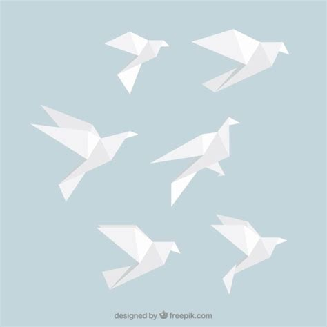 Bird Origami - white origami birds vector free