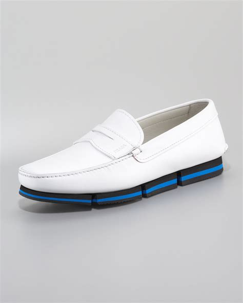 white prada loafers lyst prada loafer on sneaker bottom in white for