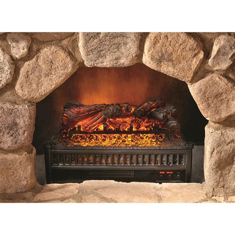 flame and comfort comfort glow electric log heater with flame projection