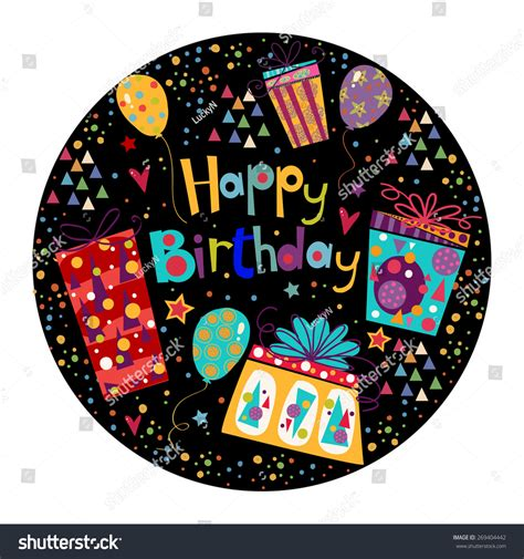 beautiful happy birthday greeting card with gift and
