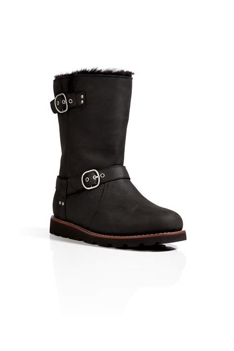 ugg boots black ugg leather noira boots in black in black lyst