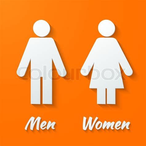 male and female bathroom signs 3d paper signs toilet changing room male female wc on a orange background vector stock