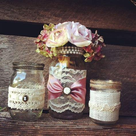 jar decorations burlap and lace jar vases vintage style lace